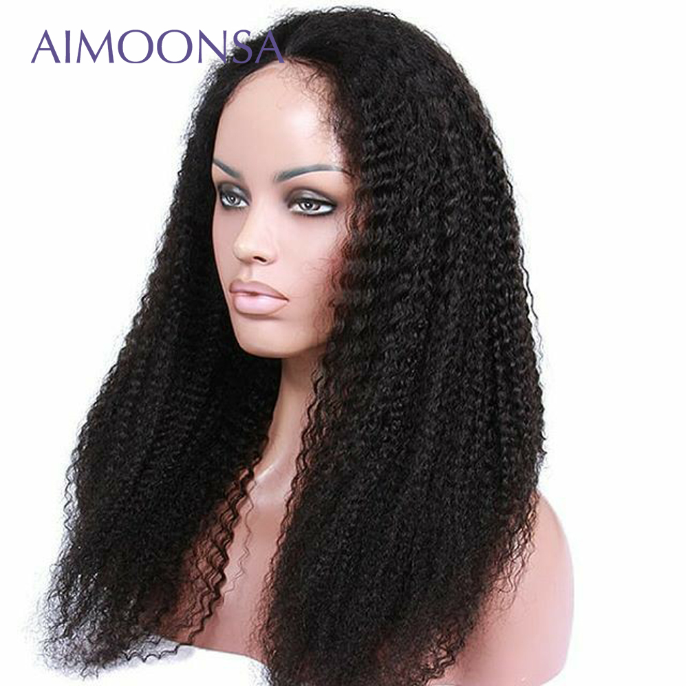 Mongolian Kinky Curly Hair Full Lace Wig Human Hair With Baby Hair 180 Density Wigs For Women Black Natural Wig Remy Aimoonsa(China)