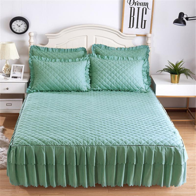 150*200cm Solid Color Cotton Sandwiched Bed Cover Comfortable Color Quilted Mattress Cover Home Bedding Pillowcase Set