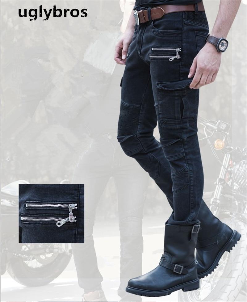 Uglybros UBP 019 Straight Casual font b Jeans b font Motorcycle Protector Pants font b Men