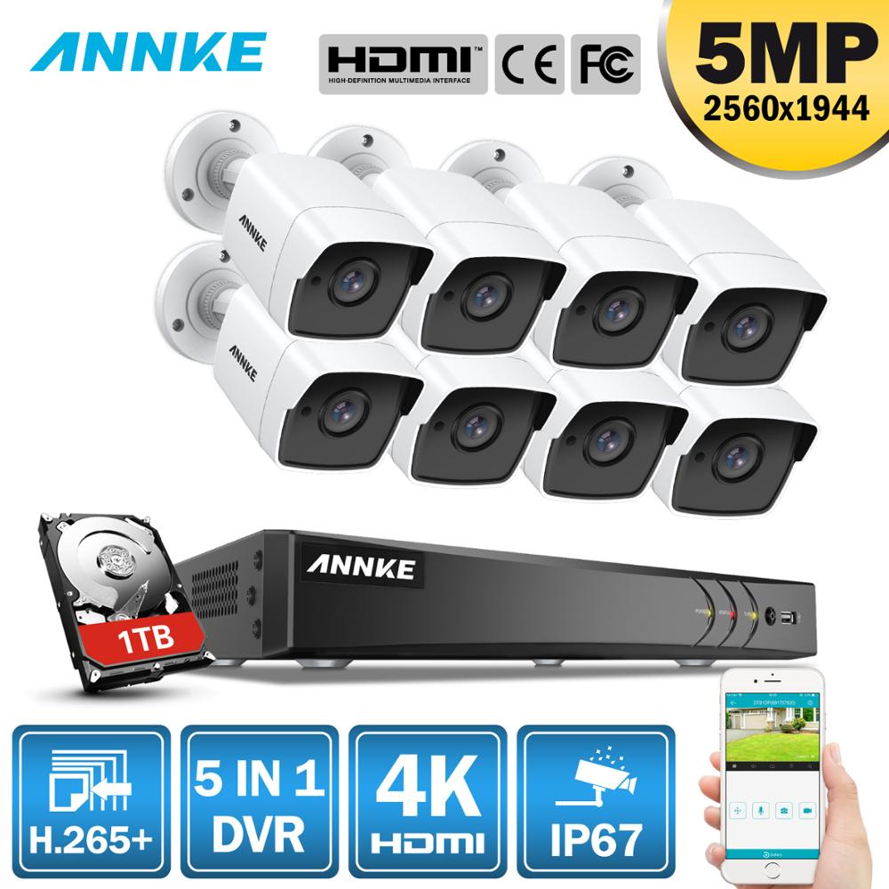ANNKE 8CH 5MP Ultra HD Video Security System 5IN1 H 265 DVR With 8PCS 5MP TVI