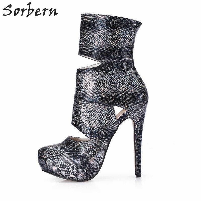 Sorbern Cut Out Platform High Heel Ankle Boots For Women Booties Short Boots Designer Shoes Women Luxury 2018 Runway Shoe Custom