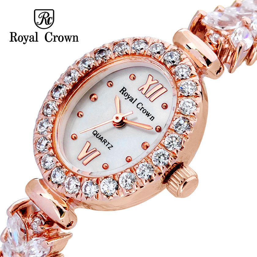 все цены на Royal Crown Lady Women's Watch Japan Quartz Hours Clock Fashion Fine Bracelet Band Shell Luxury Rhinestone Bling Girl's Gift онлайн