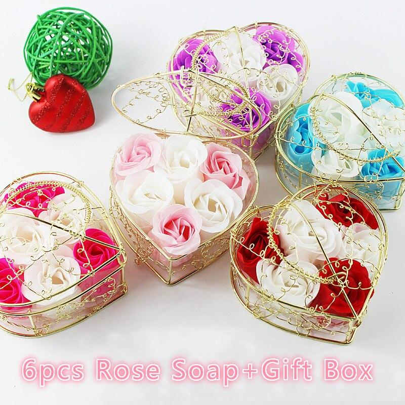 6ks / Box Mýdlo na koupání Umělý květ Dárek ve tvaru srdce Růžový koupací mýdlo Den matek Svatební párty dárek 10 cm x 6 cm