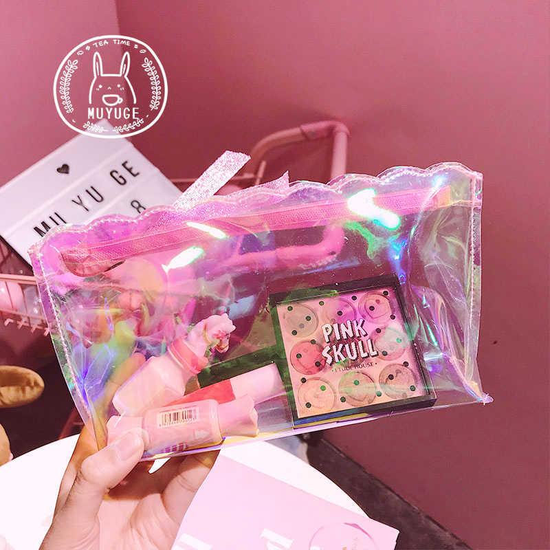 2018 Mulheres Bolsa Garras Laser PVC Viagens Make Up Sacos de Armazenamento Organizador de Maquiagem Caso Beleza Make up de Higiene Pessoal Kits de Lavagem bolsa