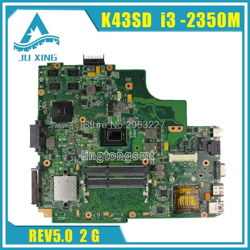 Pour ASUS K43SD mère d'ordinateur portable processeur i3 8 mémoire 2g carte mère 100% testé et travail avant l'expédition