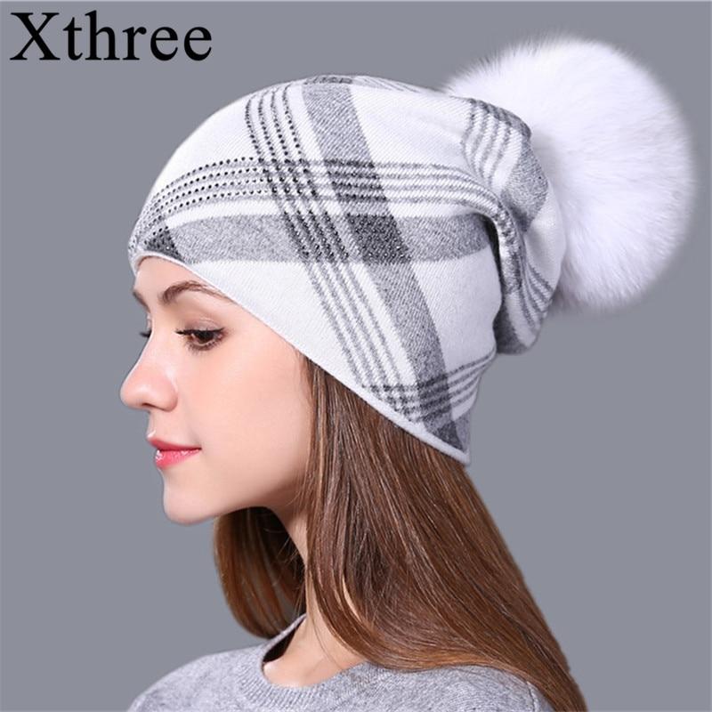 Xthree 2017 New Plaid Knitted Hat For Women Winter Beanie Skullies Warm Gravity Falls Cap Real Fur Pom Wool Gorros Female Cap