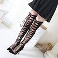 Sandálias botas de verão Mulheres Sandálias Gladiador preto Na Altura Do Joelho longas botas de Verão sandálias de dedo apontado sapatos de salto alto ata acima sandálias D1066