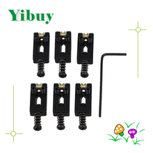 Yibuy 6 piece Black Electric Ball Guitar Bridge with Wrenches Guitar Parts