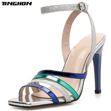 TINGHON Fashion PU Summer Sandals Woman Square head Thin High Heels Shoe Buckle Strap Shallow Mixed Colorarty Shoes Size 35-40