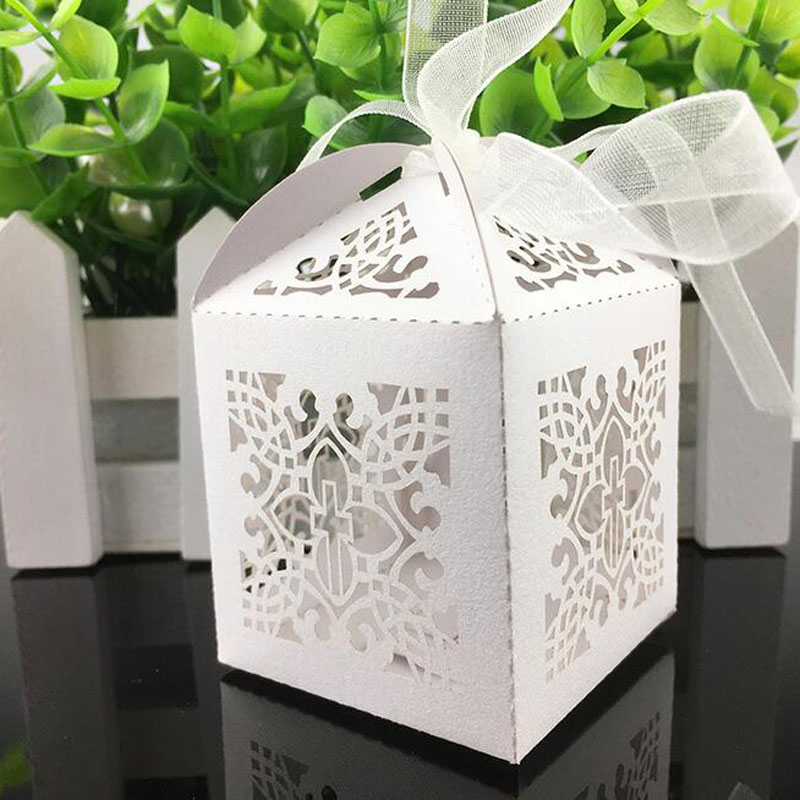 50Pcs Crossing Candy Boxes Angel Gift Box For Baby Shower Baptism Birthday First Communion Christening Easter Decoration