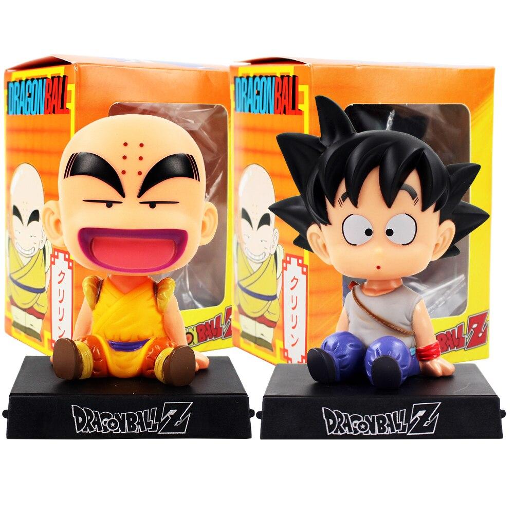 Dragon Ball Z teléfono Goku Krillin Kuririn infancia Bobble Head figuras Anime DBZ modelo Juguetes