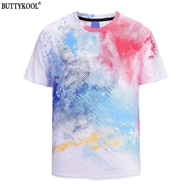 BUTTYKOOL Summer Men's T-Shirt Tops Comfortable Casual Hip Hop Street Color Print Tee Top Creative Breathable Men t shirt