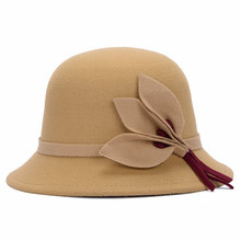 Fedoras Hat for Woman Faux Woolen chapeu fedora feminino Winter Warm Leaves Hats Outdoor Caps 57-58cm LQJ01083