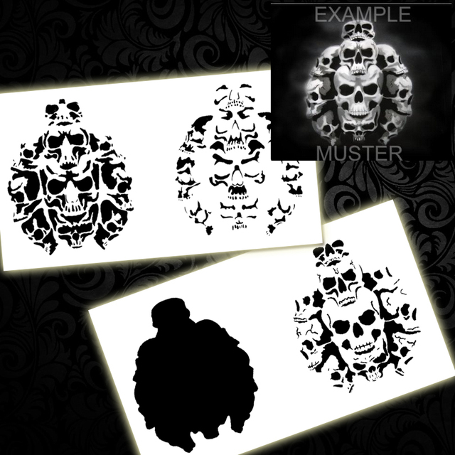 Stencil Templates | Colopaint Bps 001 Step By Step Airbrush Templates Stencil Skull Pile
