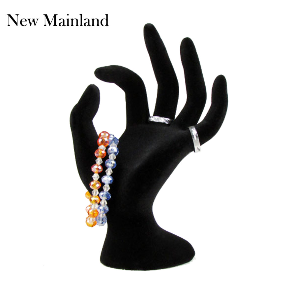 New Arrival Black Velvet Jewelry Ring Bracelet Necklace Hanging Hand Display Holder Stand Show Rack Resin Wholesale