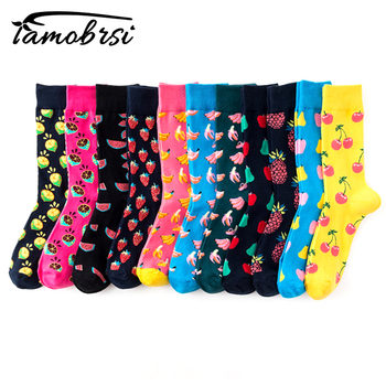 Skateboard Chaussette Homme Fashion Fruit Pineapple Cherry Mens Socks European USA Hip Hop Street Crew Meias Funny Socks animal hip hop cute crew women socks funny street happy socks usa japan mexico national theme personality skateboarding