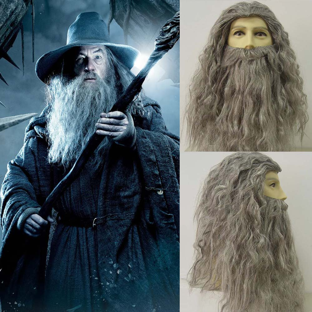 Wizard Gandalf Cosplay Wig Long Curly Hair Grey Beard Outfit Old Man Sorcerer Costume Wig Halloween Fancy Dress Accessories