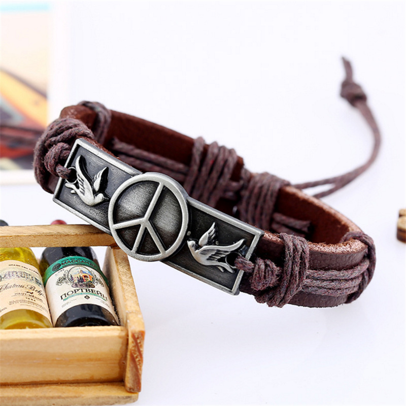 Bracelets Wristband Men`s Bracelet Cow Leather Brown Rivet Belt Buckle Peaceful Symbol Love And Peace Pigeon Alloy Charm