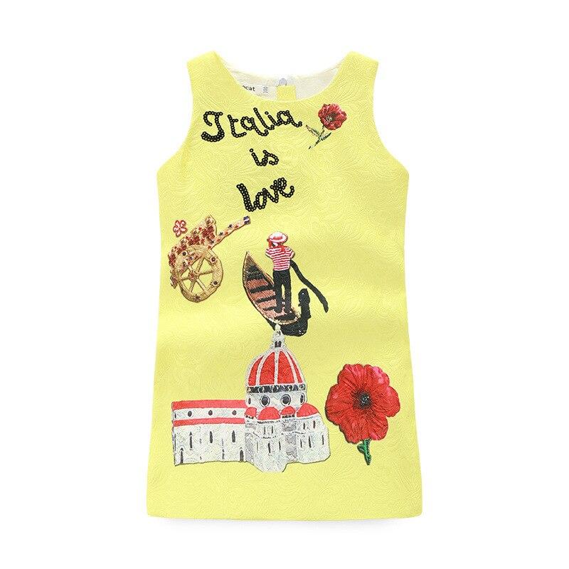 ФОТО Baby girls dress 2016 brand Summer/Spring Kids Dresses for Girls Clothes Character Pattern Princess Dress Girl Costume vestdress