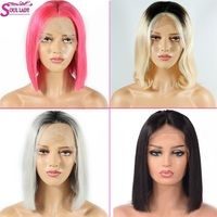 Ombre Human hair Lace Front Bob Wig Pre Plucked Short Bob Wig Pink 1B/613 Blonde/Gray/27/Blue/Red/Green Wigs For Black Women