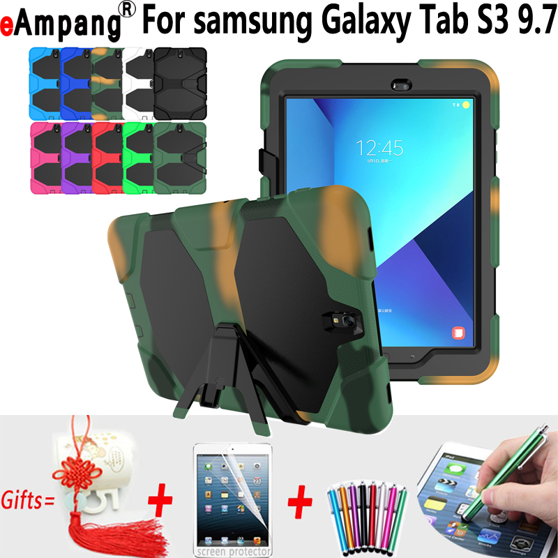 Heavy Duty Shockproof Cases for Samsung Galaxy Tab S3 9.7 T820 Case Silicone Hybrid Tablet Case for Samsung Tab S3 9.7 Cover metal ring holder combo phone bag luxury shockproof case for samsung galaxy note 8