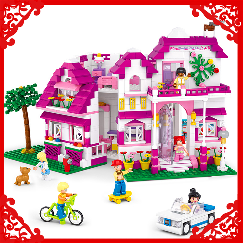 SLUBAN 0536 Block Pink Dream Sunshine Villa Model 726Pcs DIY Educational  Building Toys Gift For Children Compatible Legoe sluban 2500 block vehicle maintenance repair station 414pcs diy educational building toys for children compatible legoe