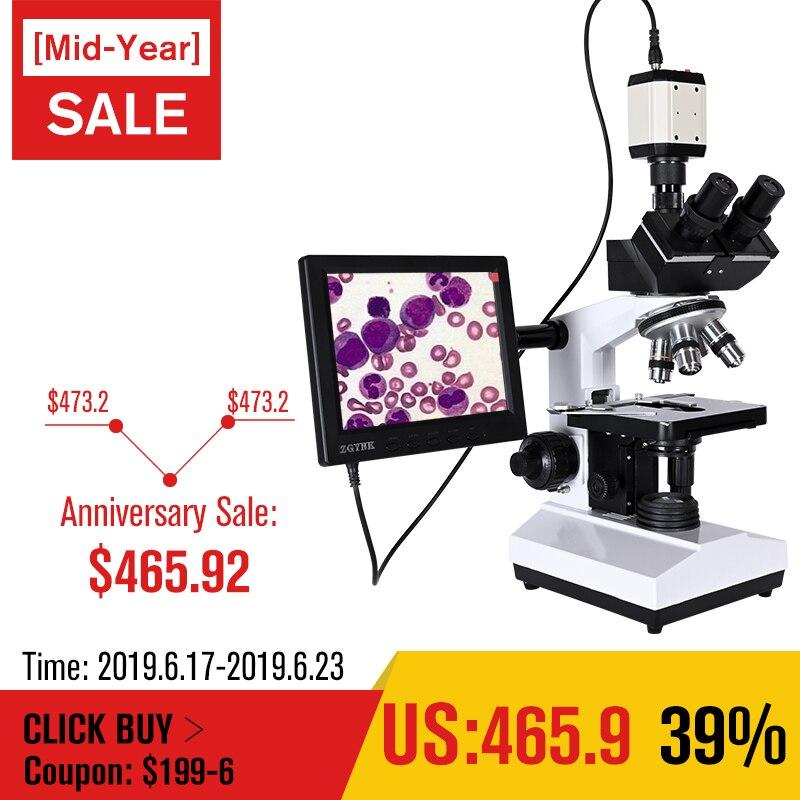 Profissional de Laboratório biológico HD microscópio trinocular zoom 2500X + USB HDMI VGA eletrônico digital CCD Camera + 8-polegada LCD led