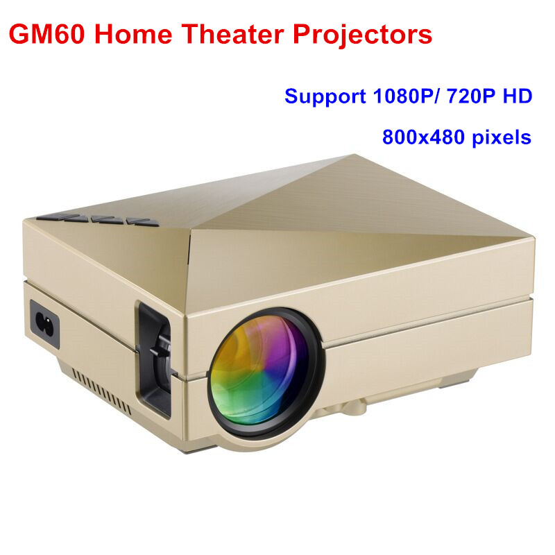 GM60 LCD Projector 1000lm 800 x 480 Pixels 1080P HD Portable Projector for Home Theater Teaching Business EU US AU Plug