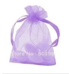 Free Shipping 100pcs/lot 7x9cm Solid Color Organza Bags Lilac Organza Bags
