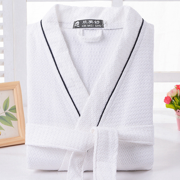 Waffle Cotton Bathrobe Men  Summer Women Nightgoen Sleepwear Ladies Blanket Towel Fleece Lovers Long Soft Robe Spring(China)