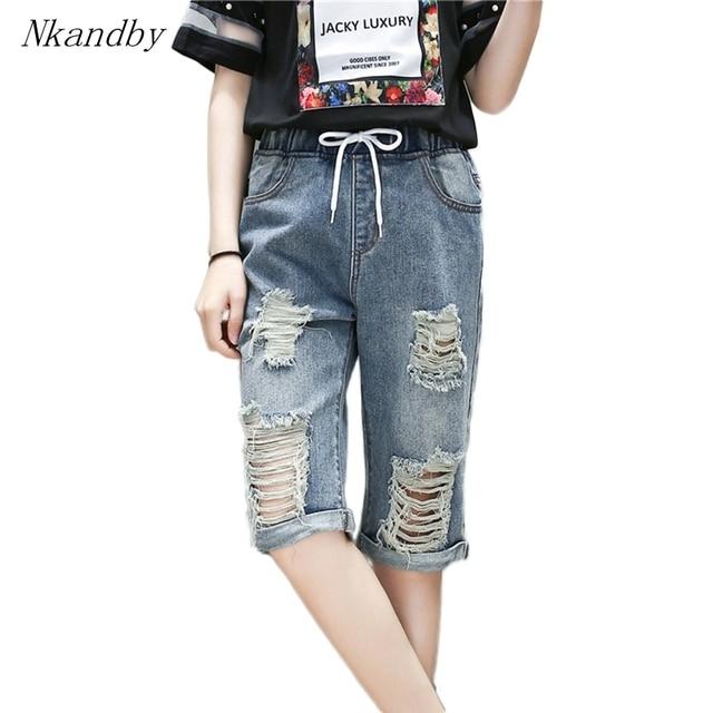 9e190e4a7c9 5XL 4XL 3XL Plus size Capris Women Loose Drawstring Elastic Waist Vintage  Frayed Beggar Jeans Denim