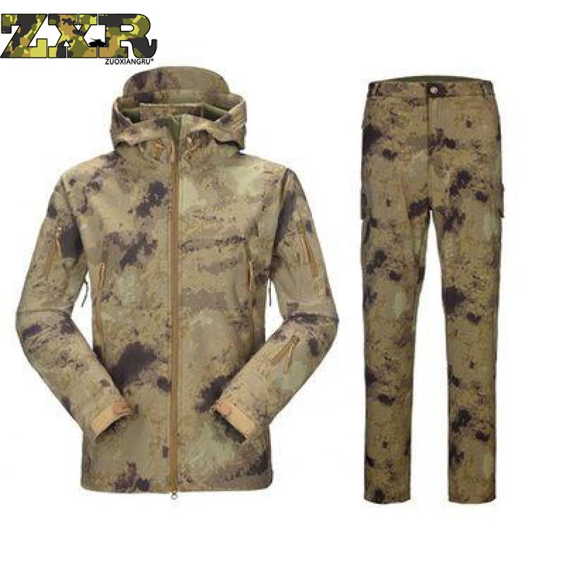 Camouflage Hunting Clothes Shark Skin Soft Shell Lurkers Tad V 4.0 Outdoor Tactical Military Fleece Jacket+ Uniform Pants Suits цены онлайн