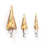 3pcs Set HSS Mental Drilling Core Drill Bit Tool Hex Spiral Step Drill Bits Set 4