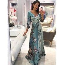 2019 Summer Women Evening Long Floral Print Dress Boho Beach Maxi Dress Tunic Party Dress Vestidos
