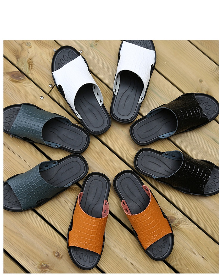 2018 New Men Genuine Leather Holiday Beach Shoes Flip Flops Men`s Casual Flat Shoes Sandals Summer Slippers For Men (3)