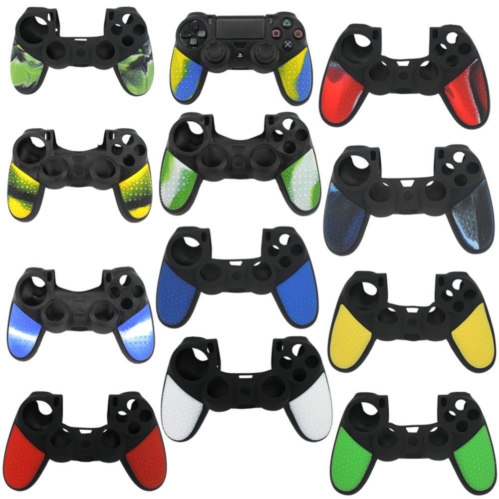 blueloong 2 pcs Soft Anti-Slip Silicone Rubber Skin Case Cover 4 buttons For sony playstation 4 ps4 dualshock 4 controller