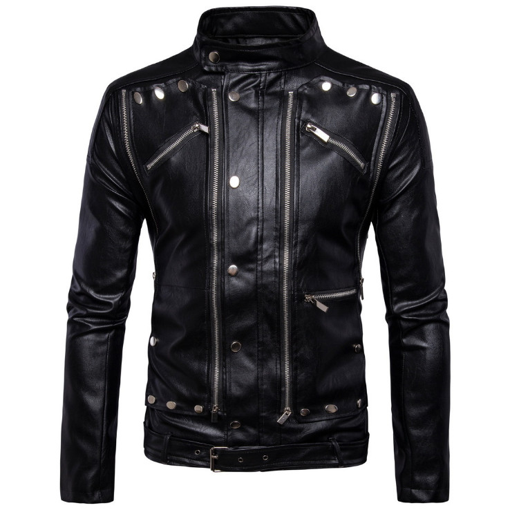 AOWOFS New Fashion Motorcycle Biker Leather Jackets Multi-zipper Black Men Leather Jackets Coats Jaqueta De Couro Masculina 5XL