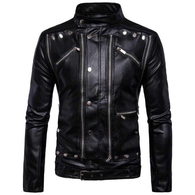 AOWOFS Nova moda motocicleta jaquetas de couro biker Multi-zíper Preto de couro Dos Homens jaquetas casacos jaqueta de couro masculina 5XL