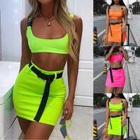 Женский летний комплект из двух предметов, укороченный топ и короткие юбки, модный неоновый зеленый однотонный Повседневный сексуальный на...