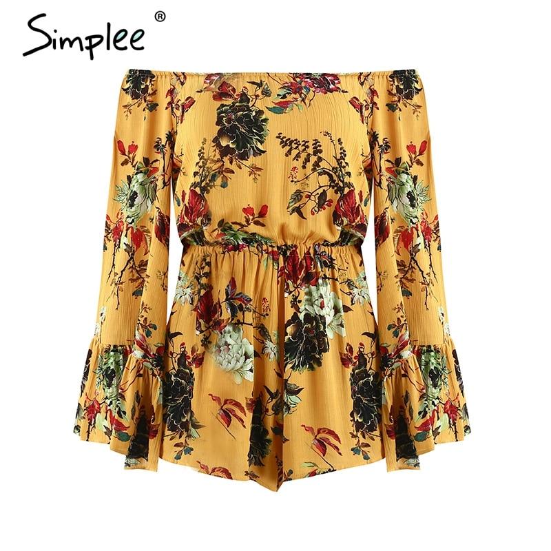 Simplee One shoulder print rompers womens jumpsuit Flare sleeve loose casual summer jumpsuit Beach streetwear short