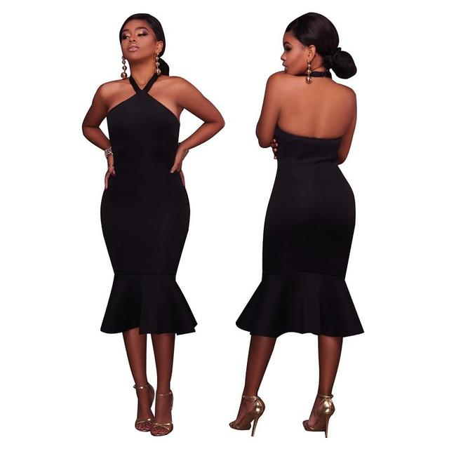 Halter Midi Mermaid Dress Women Sexy Off Shoulder Bodycon Backless Bandage Party Dresses Fashion Slim Vintage Dress Vestidos