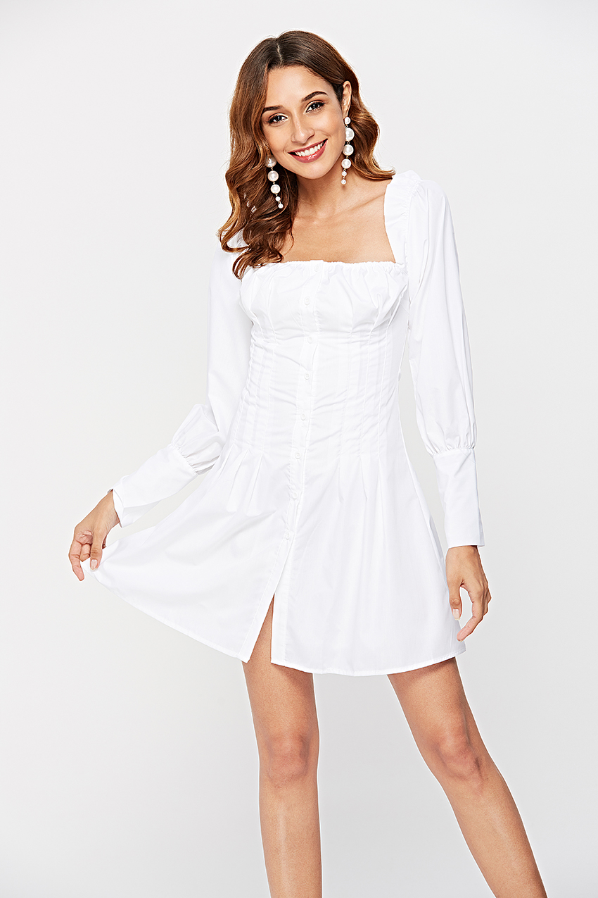 HTB1i5N5QmzqK1RjSZFjq6zlCFXaU - OOTN Sexy Off Shoulder White Tunic Dress Pleated Summer Women Long Sleeve Shirt Dress Female Ruffle Party Mini Dresses Elegant