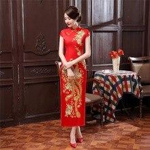 Historia shanghai phoenix bordado largo cheongsam qipao vestido chino tradicional clothing orientales vestidos 3 color