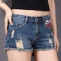 YI-NOKI Verão Shorts Mulheres Moda Zipper Tamanho Mais Solto Impresso Holes Denim Shorts Retro Shorts de Algodão