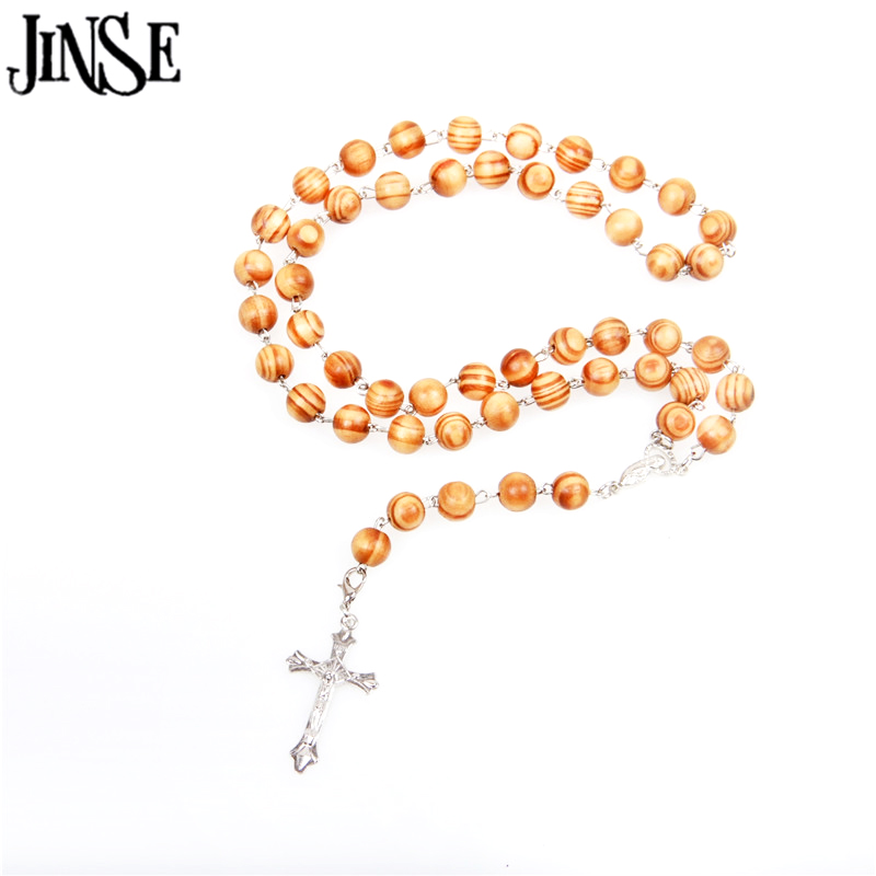 JINSE Natural Pine Wood Bead Rosary Necklace Cool Mens Women Cross Pendant Rosary Beads Necklace Fashion RON005 in Pendant Necklaces from Jewelry Accessories