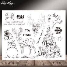 Cute Christmas Elk Design Transparent Seal / DIY Scrapbook Album Decoration Card Making Seamless