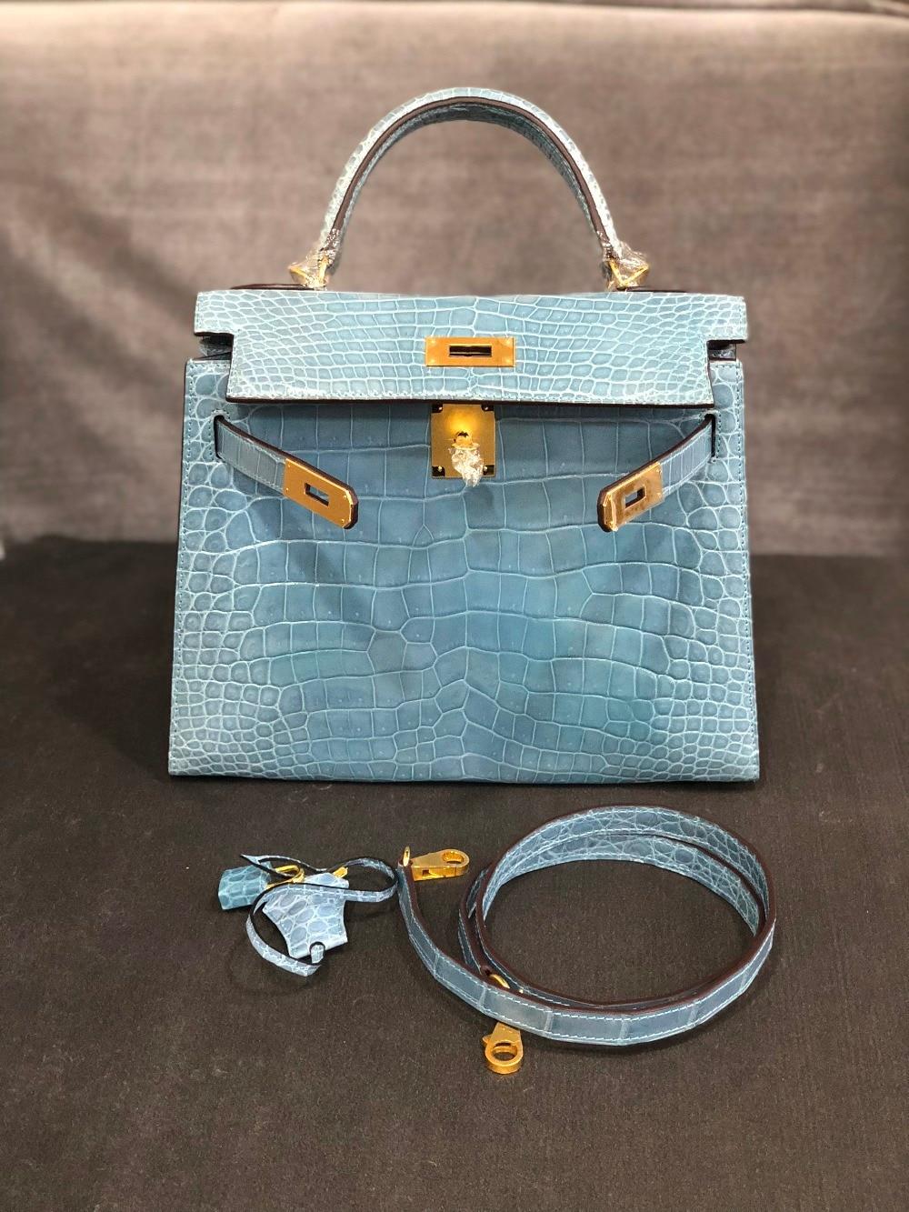 D'épaule Fourre Peau Crocodile Bleu De Luxe 100 Qualité Véritable Brillant tout Sac Gris Dame Haute tZqXt0x