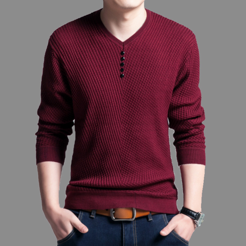 Sweater Men Pullover Knitwear-Sweter Slim-Fit Homme Cashmere-Wool Male Autumn V-Neck