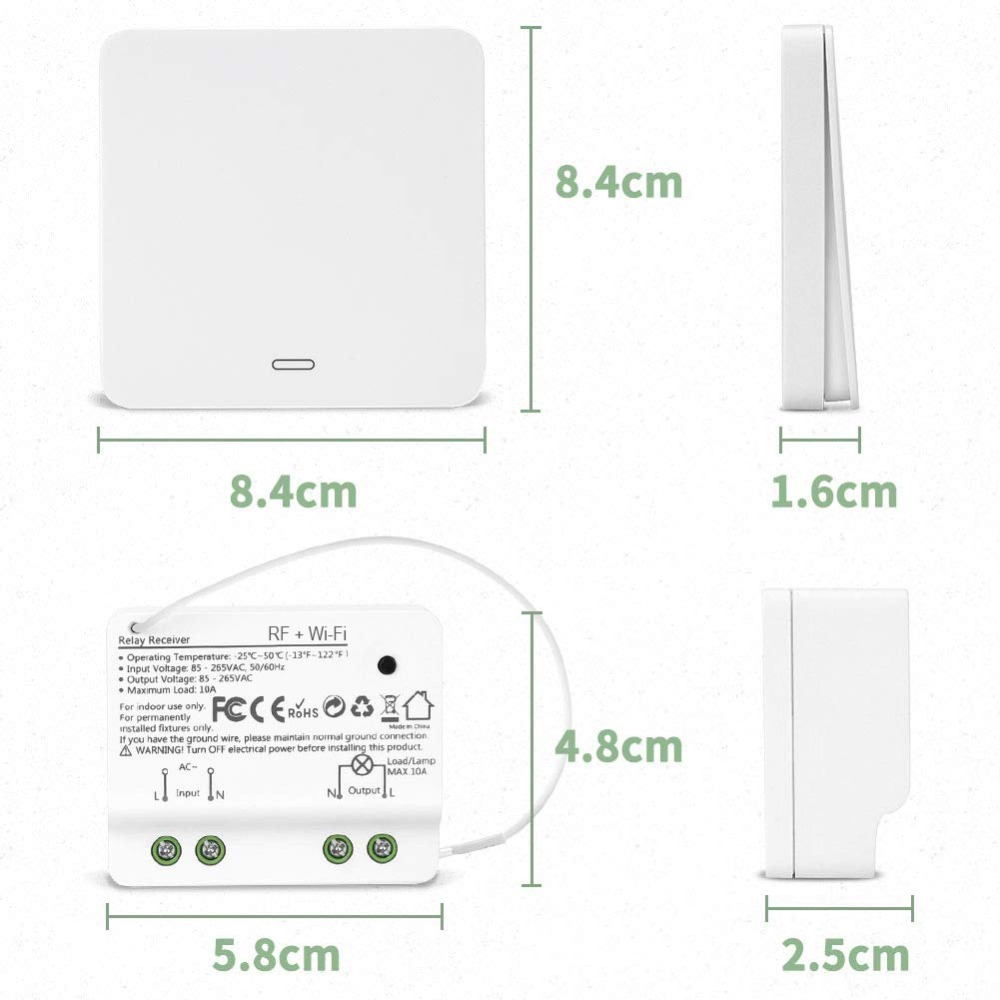 Wifi Smart switch 2500W wifi relay timer switch RF433 kinetic self powered Voice Control work with Alexa Google IFTTT Smart Life in Smart Remote Control from Consumer Electronics