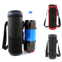 2Pcs צילינדר תיק צידנית מבודד מים משקאות בקבוקים/פחיות נשיאת תיק עבור נסיעות Cooler מזון Carrier אדום + כחול
